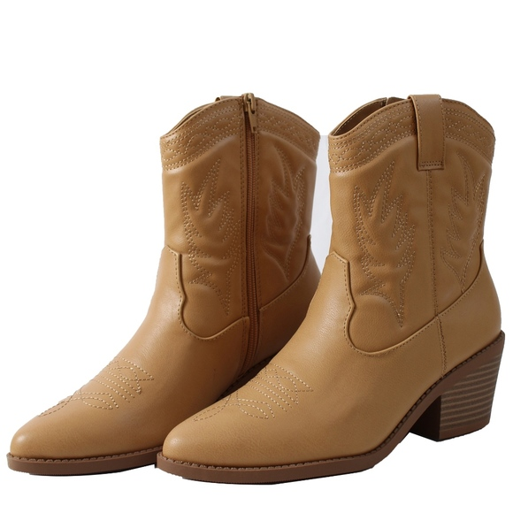 8c55aa8e1af Blond Faux Leather Cowboy Pull On Mid Calf Boot